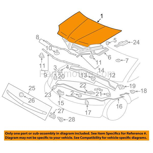 Hdd 1540 04 08 Galant 2 4l 3 8l Front Hood Panel Assembly