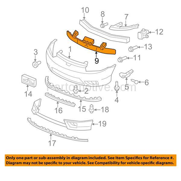 New Front BUMPER ABSORBER For Honda Civic HO1070143 71170SVAA00