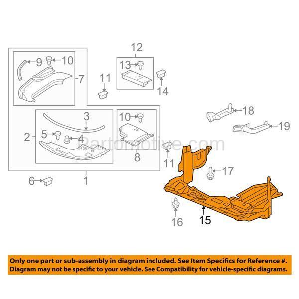 ESS-1002 09-14 TL Engine Splash Shield Under Cover Plastic