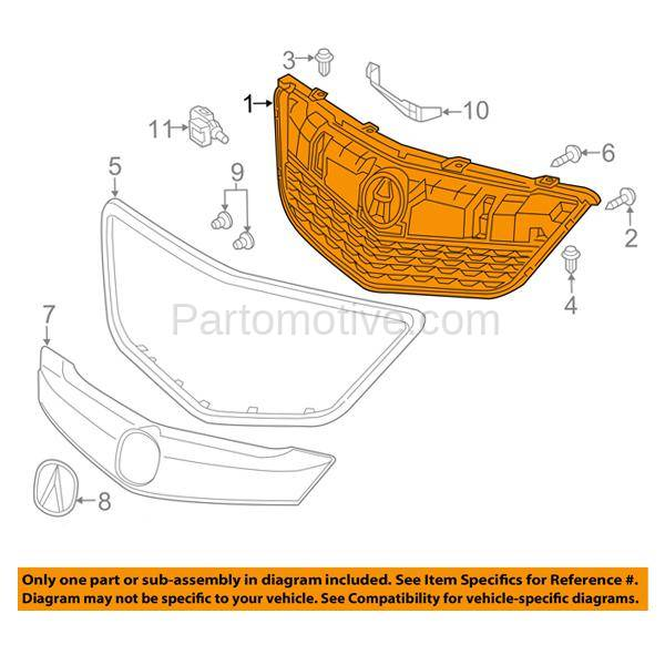 GRL-1178 14-16 MDX Front Face Bar Grill Grille Assembly