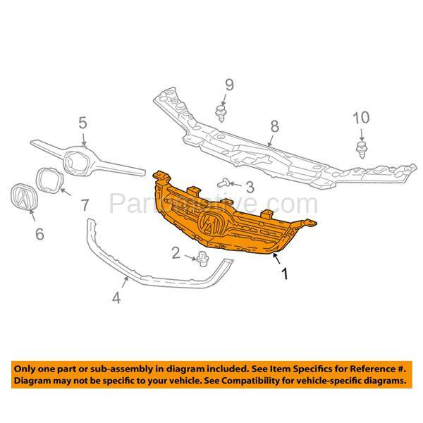 GRL-1164 06 07 08 TSX Front Face Bar Grill Grille Assembly