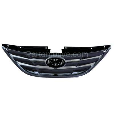 Aftermarket Replacement - GRL-1910C CAPA Front Grill Grille Chrome-Shell HY1200154 863503S100 Fits 11-13 Sonata