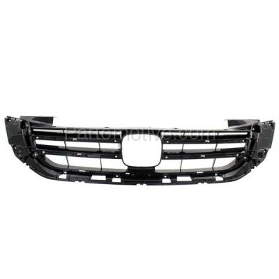 Aftermarket Replacement - GRL-1868C CAPA 13 14 15 Accord V6 Sedan Front Grill Grille Black HO1200215 71121T2FA11
