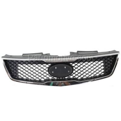Aftermarket Replacement - GRL-1989C CAPA Front Grill Grille Chrome Trim KI1200139 863501M010 Fits 10 Forte Sedan