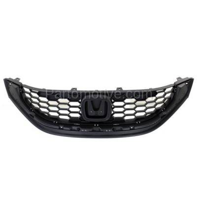 Aftermarket Replacement - GRL-1869C CAPA 13 14 15 Civic Sedan Front Grill Grille Textured HO1200216 71121TR3A01