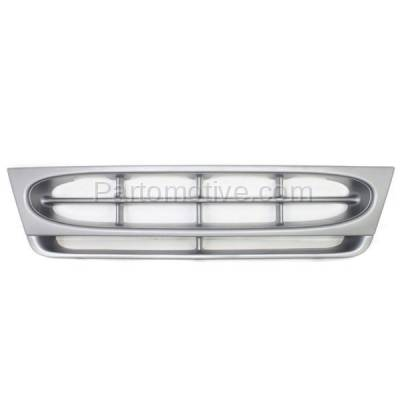 Aftermarket Replacement - GRL-1422C CAPA 97-02 E-Series Econoline Van Front Grill Grille Silver Shell FO1200338