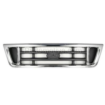 Aftermarket Replacement - GRL-1478C CAPA 03-07 E-Series Van Front Face Bar Grill Grille FO1200428 2C2Z8200AAD