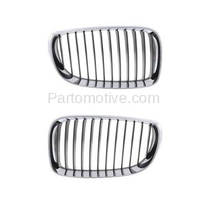 Aftermarket Replacement - GRL-1000L & GRL-1000R 2008-2013 BMW 1-Series (Convertible & Coupe) Front Grill Grille Assembly Chrome/Black Plastic SET PAIR Left Driver & Right Passenger Side