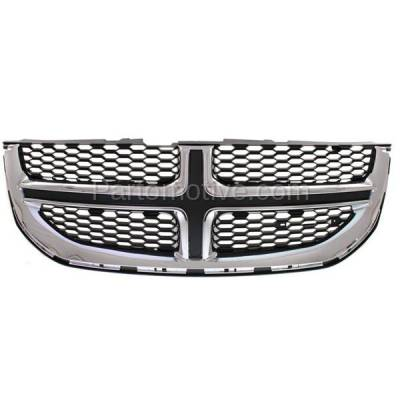Aftermarket Replacement - GRL-1331C CAPA 11-15 Grand Caravan Front Grill Grille Chrome w/Black Insert 68088969AC