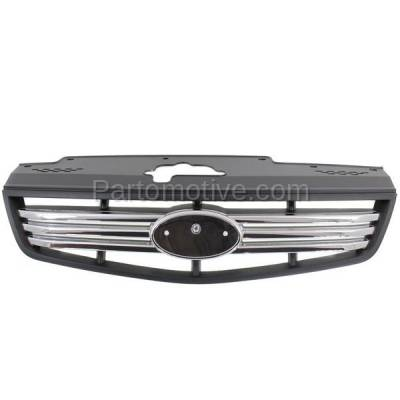 Aftermarket Replacement - GRL-1982C CAPA Front Grill Grille Chrome/Blk Type-2 KI1200129 863611G210 For 06-09 Rio
