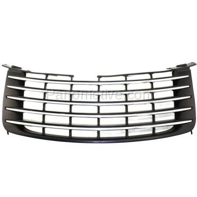 Aftermarket Replacement - GRL-1298C CAPA 06-10 PT Cruiser Front Grill Grille Black w/Chrome Molding 5179089AB