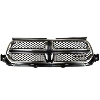 Aftermarket Replacement - GRL-1338C CAPA 11-13 Durango Front Grill Grille Chrome Shell w/Black Insert 55079364AJ