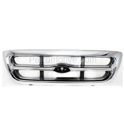 Aftermarket Replacement - GRL-1424C CAPA 98-00 Ranger Pickup Truck Front Grill Grille Chrome Shell F87Z8200EAA