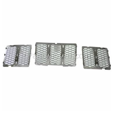 Aftermarket Replacement - GRL-1344C CAPA 14-15 GR. Cherokee Front Chrome Grill Grille Insert 3-Piece 68143075AB