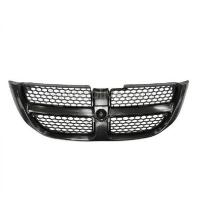 Aftermarket Replacement - GRL-1271C CAPA NEW 01-04 Caravan Front Complete Grill Grille Black CH1200238 4857296AA
