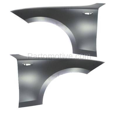 Aftermarket Replacement - FDR-1000L & FDR-1000R 2008-2013 BMW 1-Series (Convertible & Coupe) Front Fender Quarter Panel (without Molding Holes) Primed Steel Pair Set Right & Left Side