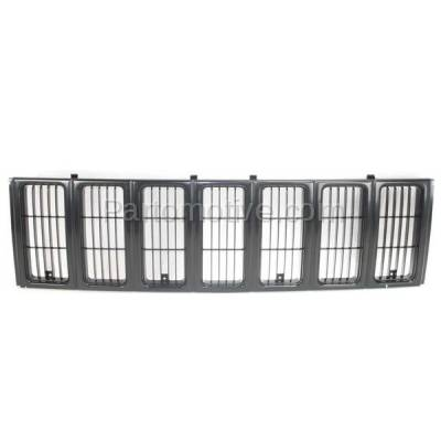 Aftermarket Replacement - GRL-1255C CAPA NEW 97-01 Cherokee Black Front Face Bar Grill Grille CH1200208 55055150