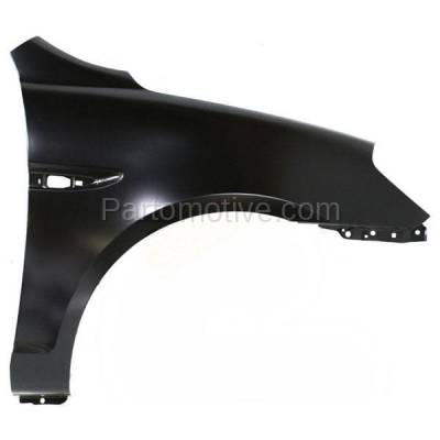Aftermarket Replacement - FDR-1059RC CAPA 2006-2011 Hyundai Accent 1.6L Front Fender Quarter Panel with Turn Signal Light Hole Primed Steel Right Passenger Side