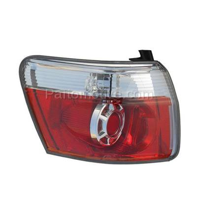 Aftermarket Auto Parts - TLT-1621LC CAPA 2007-2012 GMC Acadia 3.6L Outer Body Mounted Taillight Rear Brake Light Halogen (with Bulb) Red Clear Lens & Housing Left Driver Side