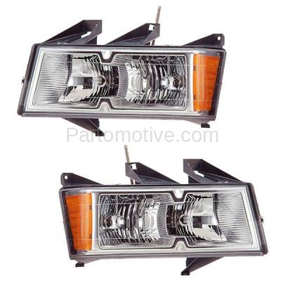 Aftermarket Auto Parts - HLT-1240LC & HLT-1240RC CAPA Canyon Colorado Headlight Headlamp Chrome Head Light Left & Right Set PAIR