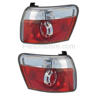 Aftermarket Auto Parts - TLT-1621LC & TLT-1621RC CAPA 2007-2012 GMC Acadia 3.6L Outer Body Mounted Taillight Rear Brake Light (with Bulb) Red Clear Lens & Housing SET PAIR Left & Right Side