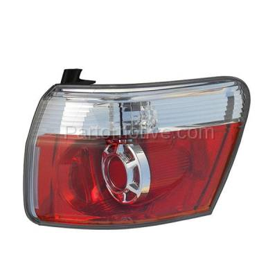 Aftermarket Auto Parts - TLT-1621RC CAPA 2007-2012 GMC Acadia 3.6L Outer Body Mounted Taillight Rear Brake Light Halogen (with Bulb) Red Clear Lens & Housing Right Passenger Side