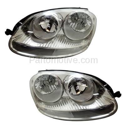Aftermarket Replacement - HLT-1350L & HLT-1350R VW Jetta Headlight Headlamp Halogen Head Light Lamp Left Right Side Set PAIR DOT
