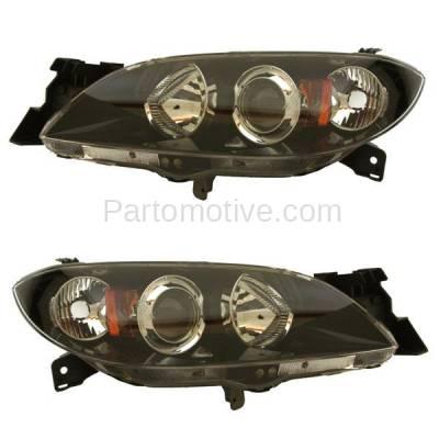 Aftermarket Auto Parts - HLT-1293LC & HLT-1293RC CAPA 04-09 Mazda 3 Sedan Headlight Headlamp Head Light Lamp Left Right Set PAIR