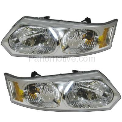 Aftermarket Replacement - HLT-1187LC & HLT-1187RC CAPA 03-07 Ion Sedan Headlight Headlamp Head Light Lamp Left Right Set PAIR DOT