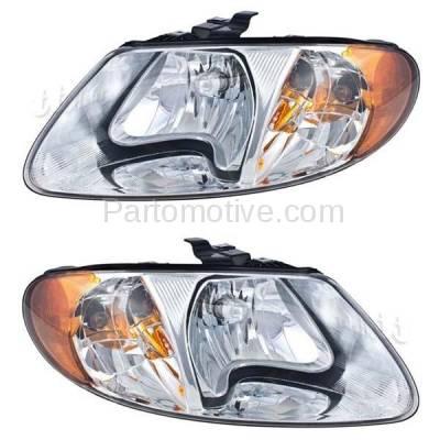 Aftermarket Replacement - HLT-1091LC & HLT-1091RC CAPA 01-07 Dodge Caravan, Town & Country, Voyager Headlights Headlamps Pair Set