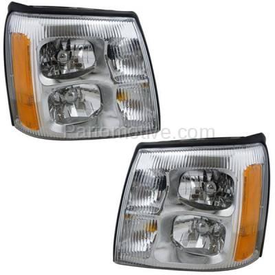Aftermarket Replacement - HLT-1312LC & HLT-1312RC CAPA 02 Escalade Headlight Headlamp Front Head Light Lamp Left & Right Set PAIR