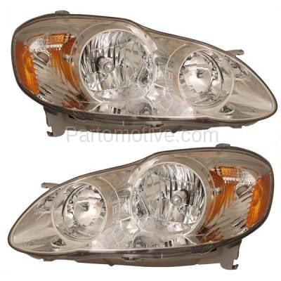 Aftermarket Replacement - HLT-1336LC & HLT-1336RC CAPA 05-08 Corolla CE LE Headlight Headlamp Head Light Lamp Left Right Set PAIR
