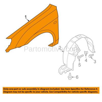 Aftermarket Replacement - FDR-1715L Front Fender Quarter Panel Driver Side LH For 04-09 Spectra KI1240118 663112F010 - Image 3