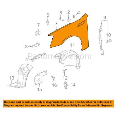 Aftermarket Replacement - FDR-1194R 08-15 CTS Front Fender Quarter Panel Right Passenger Side RH GM1241353 20851341 - Image 3