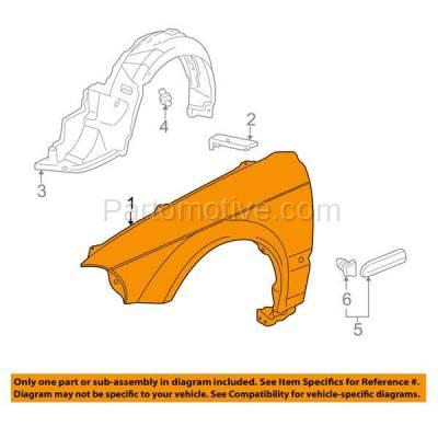 Aftermarket Replacement - FDR-1161R 99-00 Civic Front Fender Quarter Panel Passenger Side RH HO1241151 60211S01A10ZZ - Image 3
