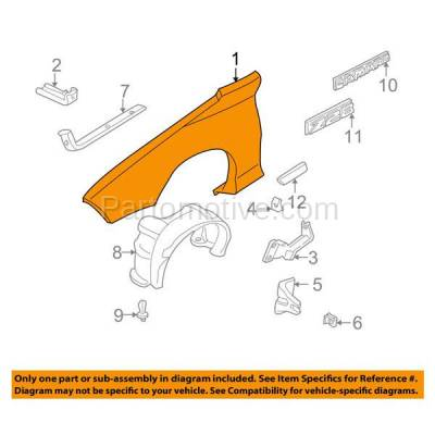 Aftermarket Replacement - FDR-1123R 98-02 Chevy Camaro Front Fender Quarter Panel Passenger Side GM1241274 10419545 - Image 3
