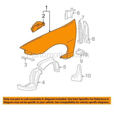 Aftermarket Replacement - FDR-1134R 00-05 Chevy Cavalier Front Fender Quarter Panel Right Side RH GM1241287 88955573 - Image 3