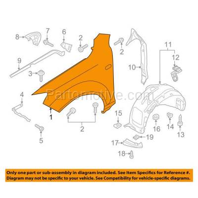 Aftermarket Replacement - FDR-1581R 07-14 Q7 Front Fender Quarter Panel Right Passenger Side RH AU1241131 4L0821102 - Image 3