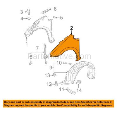 Aftermarket Replacement - FDR-1570R 04-06 Prius Front Fender Quarter Panel Right Passenger Side TO1241205 5380147030 - Image 3