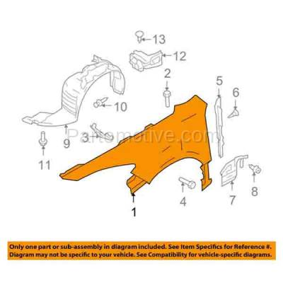 Aftermarket Replacement - FDR-1488L 09-13 Mazda6 Front Fender Quarter Panel Driver Side USA-Blt MA1240160 GS3L52210A - Image 3