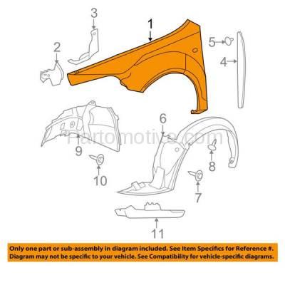 Aftermarket Replacement - FDR-1457R 08 Chevy Malibu Front Fender Quarter Panel Passenger Side RH GM1241351 15825372 - Image 3