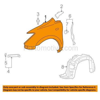 Aftermarket Replacement - FDR-1826R 04-06 xA Front Fender Quarter Panel Right Passenger Side RH SC1241101 5380152060 - Image 3
