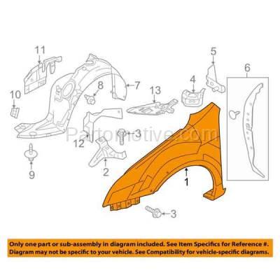 Aftermarket Replacement - FDR-1845L 06-09 Zephyr/MKZ Front Fender Quarter Panel Driver Side LH FO1240261 6H6Z16006AA - Image 3