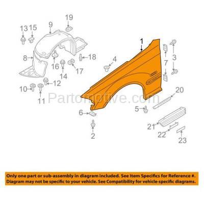Aftermarket Replacement - FDR-1003R 03-06 3-Series Front Fender Quarter Panel Passenger Side BM1241139 41347065264 - Image 3