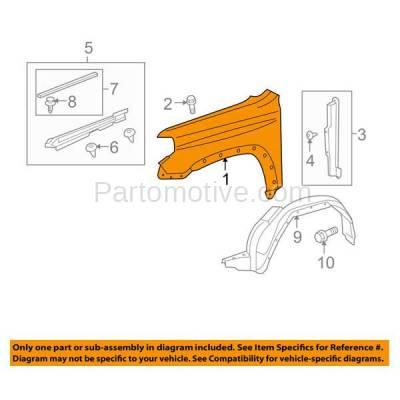 Aftermarket Replacement - FDR-1018R 10-13 4-Runner Front Fender Quarter Panel Passenger Side RH TO1241233 5381135420 - Image 3