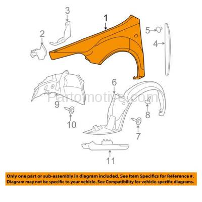 Aftermarket Replacement - FDR-1458R 09-12 Chevy Malibu Front Fender Quarter Panel Passenger Side GM1241356 25949346 - Image 3