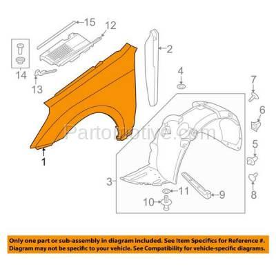 Aftermarket Replacement - FDR-1252L Front Fender Quarter Panel Left Driver Side For 11-16 Equus HY1240155 663103N000 - Image 3