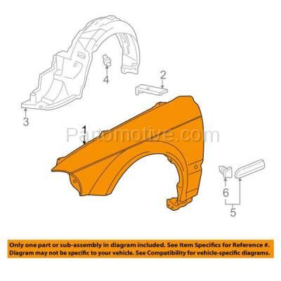 Aftermarket Replacement - FDR-1160L 96-98 Civic Front Fender Quarter Panel Left Driver Side HO1240143 60261S04A00ZZ - Image 3