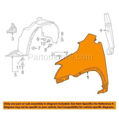 Aftermarket Replacement - FDR-1778R 13-16 Chevy Trax Front Fender Quarter Panel Passenger Side RH GM1241386 95210619 - Image 3