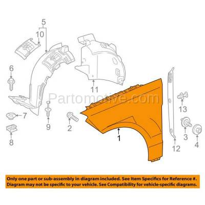 Aftermarket Replacement - FDR-1357R 13-16 GL-Class Front Fender Quarter Panel Passenger Side RH MB1241151 1668802800 - Image 3